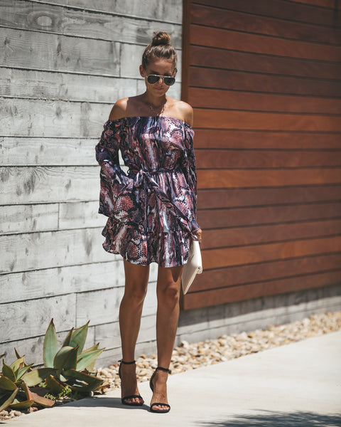 Roam Wild Pocketed Off The Shoulder Dress