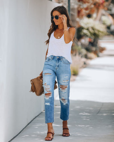 Nico High Rise Distressed Split Ankle Denim