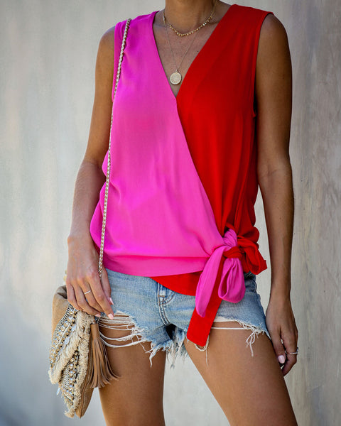Inseparable Colorblock Drape Tie Top - FINAL SALE