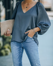 One Kiss Textured Satin Blouse - Charcoal