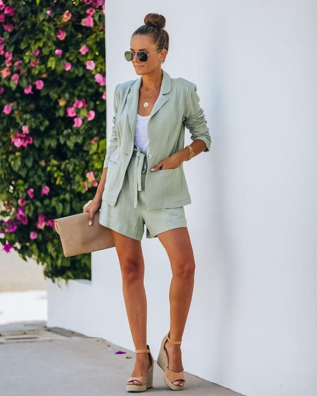 Gemma Pocketed Linen Blend Blazer - Sage - FINAL SALE