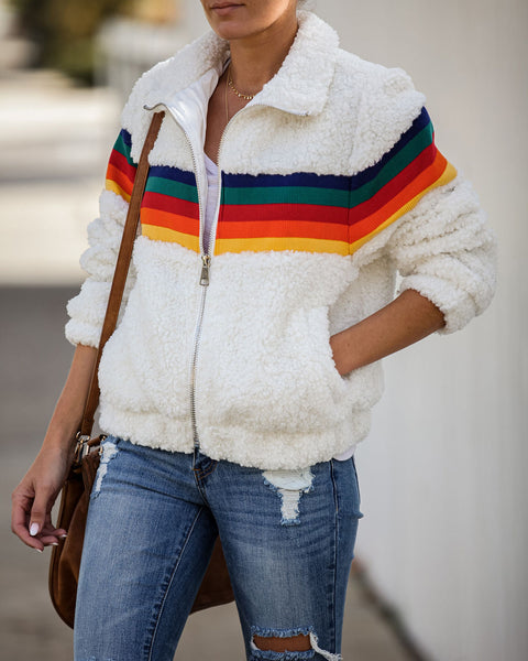 Hip Hip Hooray Pocketed Sherpa Jacket - FINAL SALE