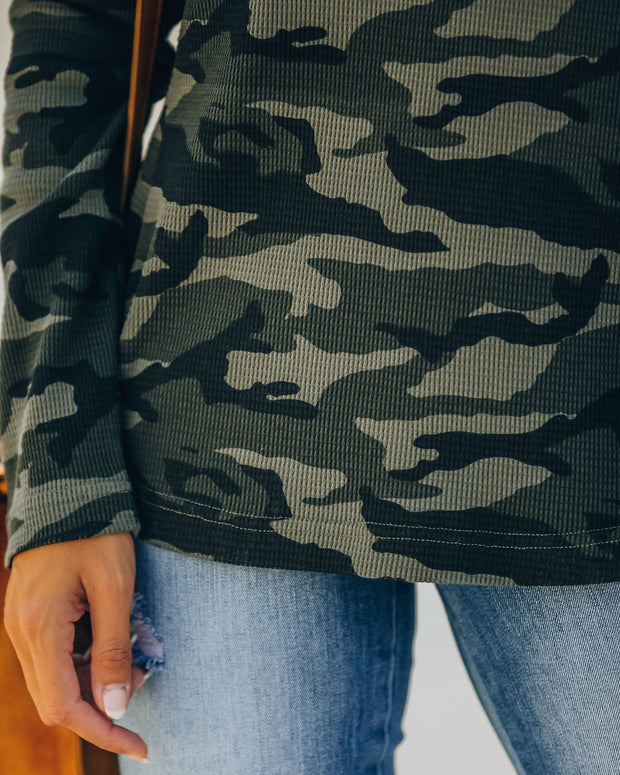 Game Changer Cotton Blend Thermal Camo Top