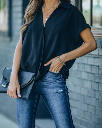 Kiana Collared Surplice Blouse - Black