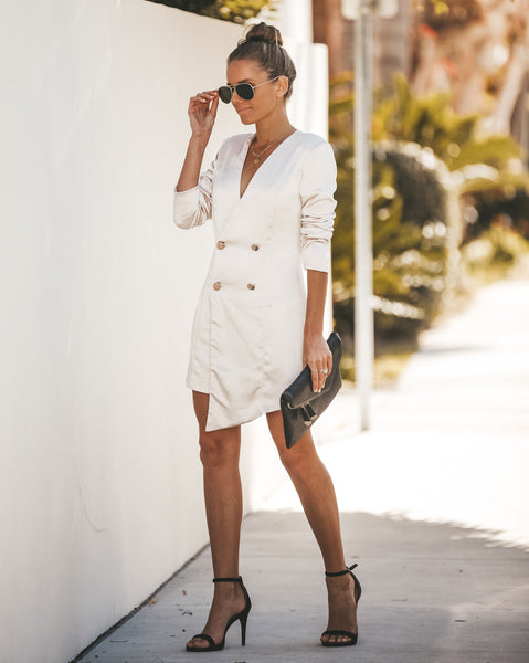 Smooth As Silk Double Breasted Blazer Dress - Champagne