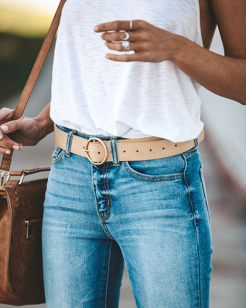 Compass Circle Buckle Belt - Nude