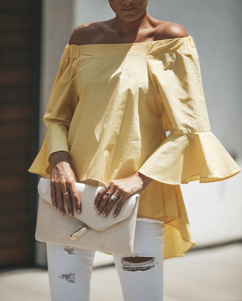Cutting Edge Off The Shoulder Top - Yellow - FINAL SALE