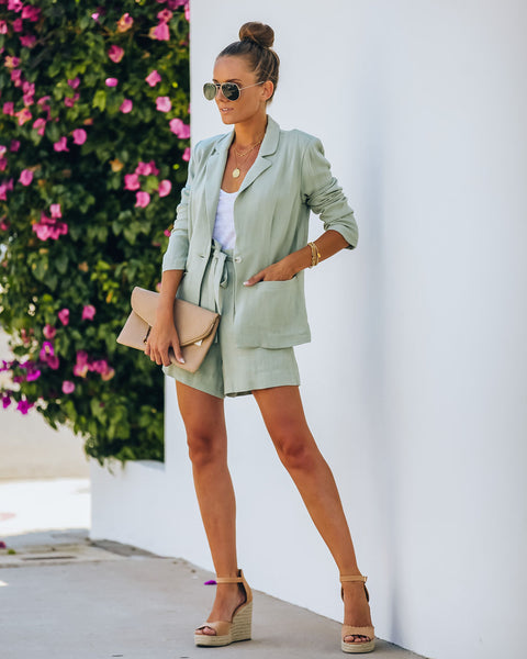Gemma Pocketed Linen Blend Blazer - Sage