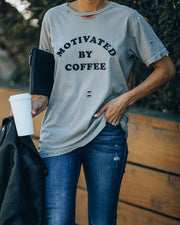 Motivated By Coffee Distressed Cotton Tee
