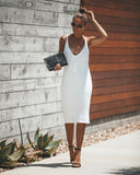 Right Moves Ribbed Knit Midi Dress - Ivory - FINAL SALE