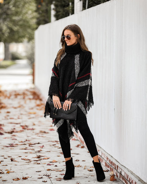 Gaiety Plaid Fringe Turtleneck Poncho  - FINAL SALE