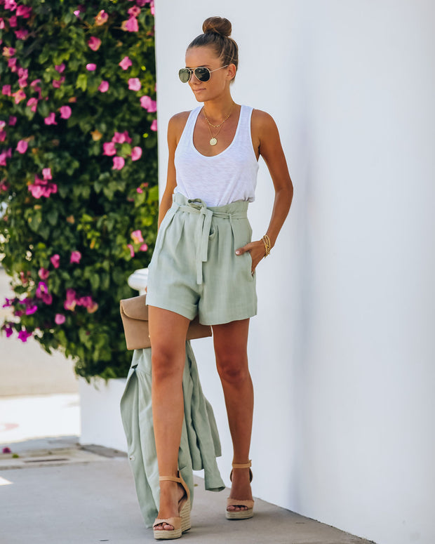 Gemma Pocketed High Rise Linen Blend Shorts - Sage - FINAL SALE