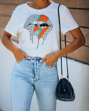 Bowie Biting Lips Cotton Crop Leopard Tee