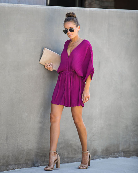 World-Class Pleated Romper - Plum