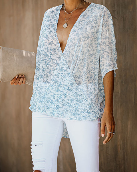 Dandelion Wish Short Sleeve Drape Blouse - FINAL SALE