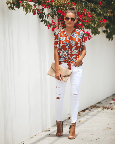 Amber Nectar Button Down Tie Top - FINAL SALE