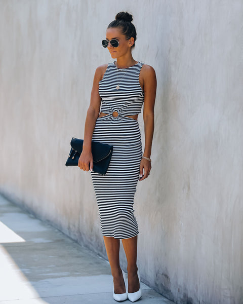 Parisian Boulevard Striped Knit Cutout Midi Dress