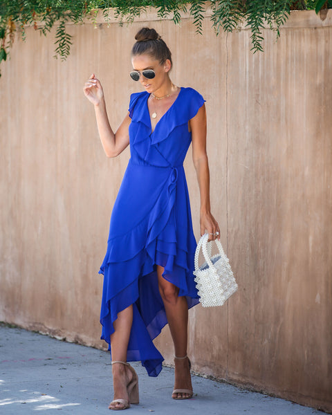 Infatuate Ruffle Wrap Asymmetrical Dress - Cobalt