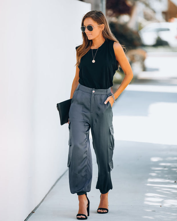 Justin Pocketed Satin Cargo Pants - Charcoal - FINAL SALE