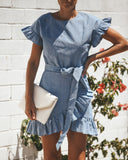 Riviera Striped Ruffle Wrap Dress - Sky
