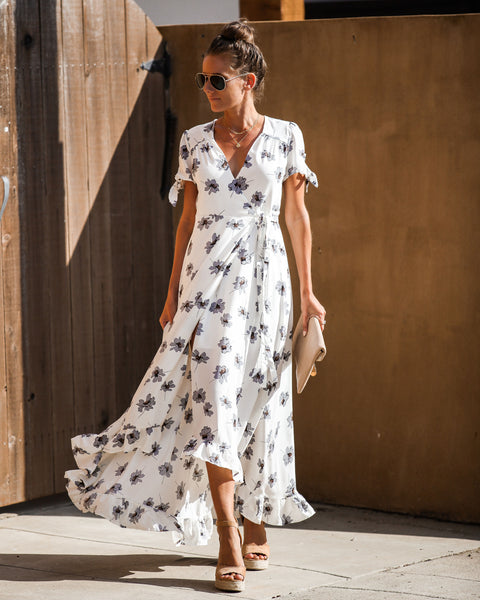 Palm Beach Floral Ruffle Wrap Maxi Dress - FINAL SALE