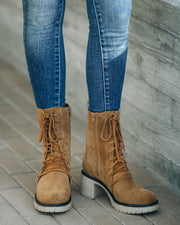 Danny Lace Up Heeled Boot - Camel view 2