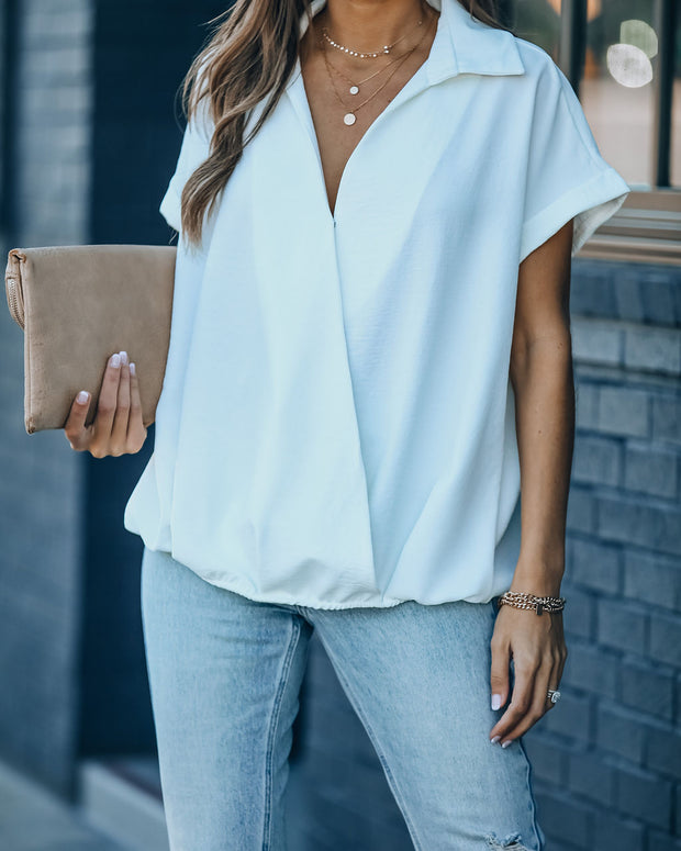 Kiana Collared Surplice Blouse - White