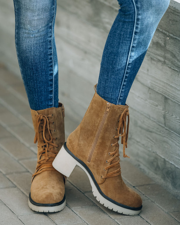 Danny Lace Up Heeled Boot - Camel view 10