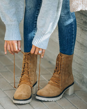 Danny Lace Up Heeled Boot - Camel view 1