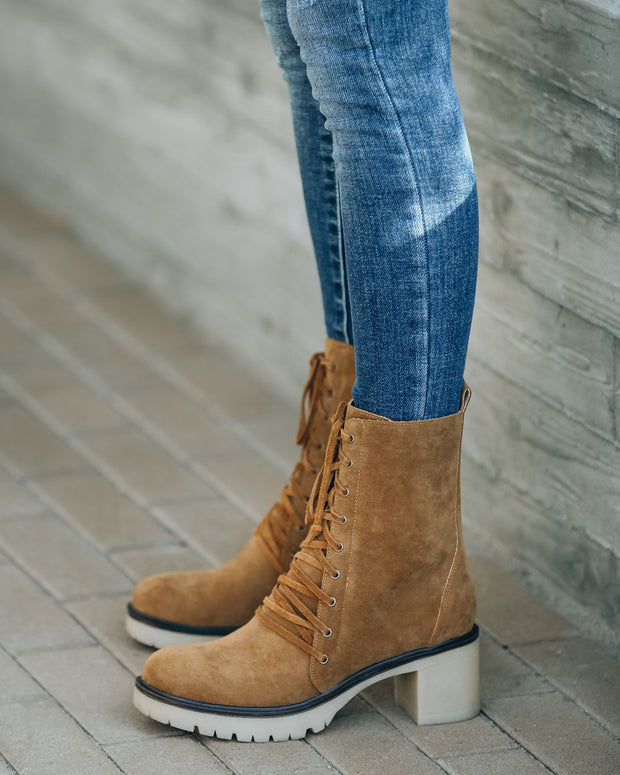 Danny Lace Up Heeled Boot - Camel view 12