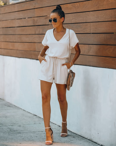 Summer's End Pocketed Knit Romper - Oatmeal