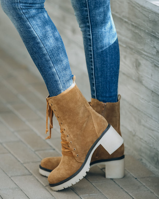 Danny Lace Up Heeled Boot - Camel view 7