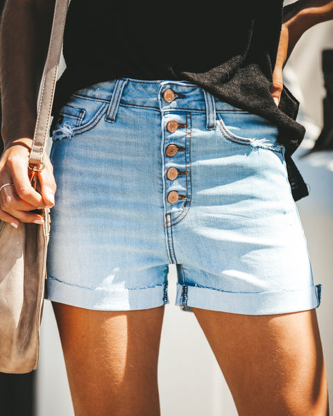 Charlotte High Rise Cuffed Denim Shorts - Light Wash