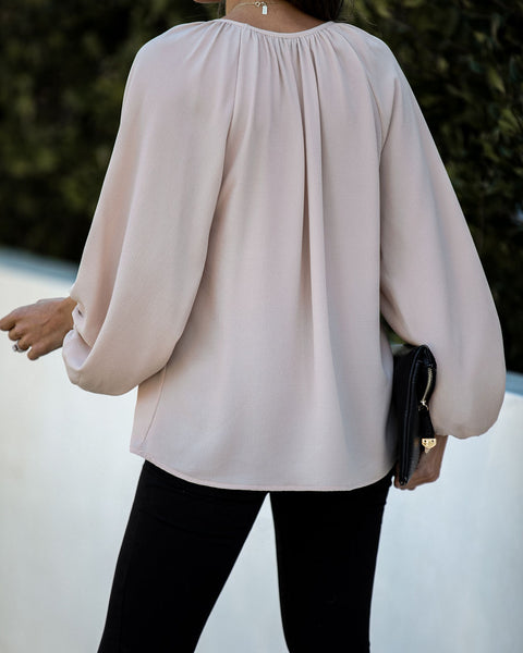 Promotion Balloon Sleeve Blouse - Ecru - FINAL SALE
