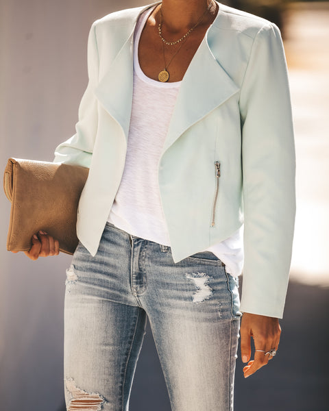 Work Hard Play Hard Pocketed Asymm Blazer - Pistachio - FINAL SALE