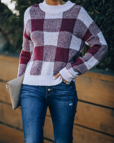 Kalen Gingham Knit Sweater - Cabernet