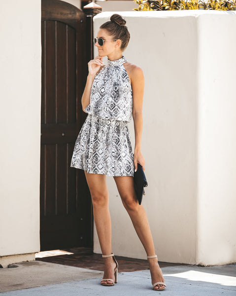 Sassier Than Ever Snake Print Halter Dress - FINAL SALE