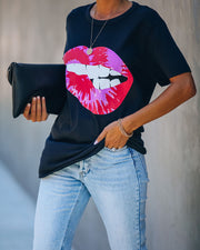 Tie Dye Biting Lips Cotton Blend Tee