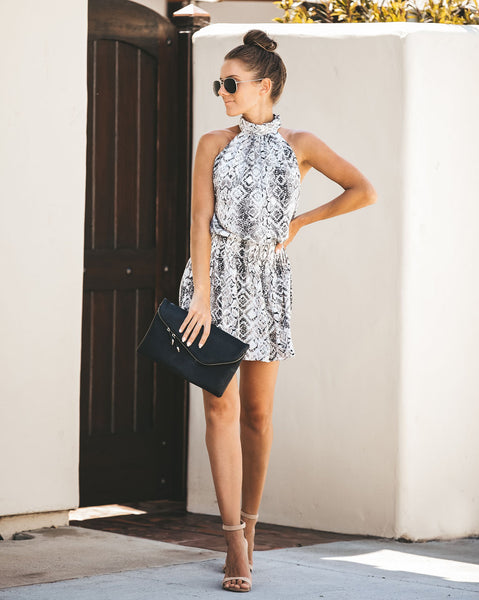 Sassier Than Ever Snake Print Halter Dress
