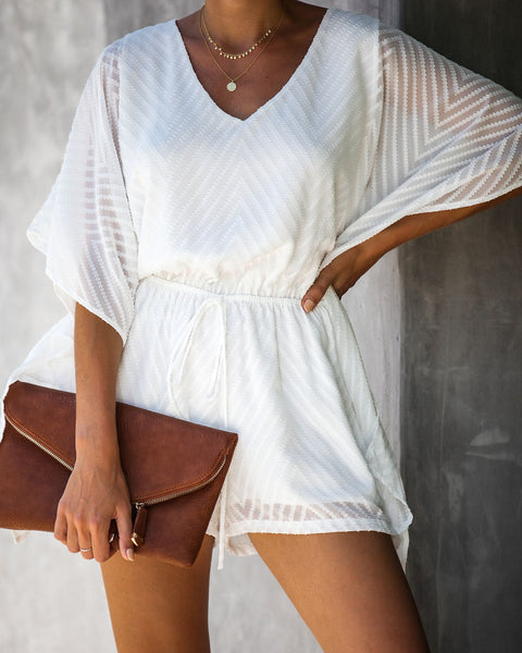 Day Party Textured Kimono Romper