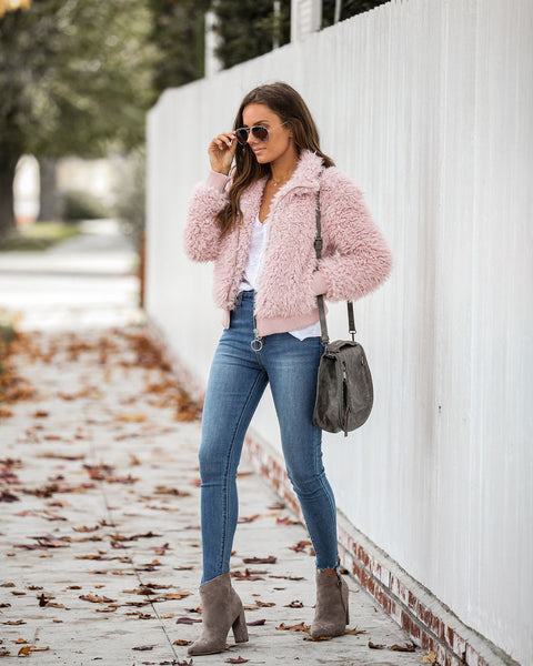 Igloo Pocketed Faux Fur Jacket - Pink - FINAL SALE
