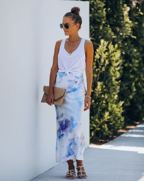 Seize The Day Satin Tie Dye Midi Skirt