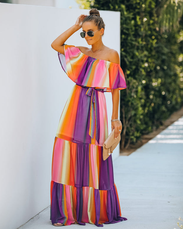 Full Of Life Striped Off The Shoulder Maxi Dress - FINAL SALE