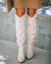Tatum Heeled Scrunch Boot - Beige