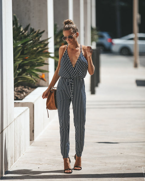 Doing Too Much Striped Jumpsuit