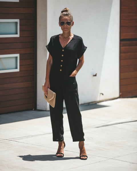 High Water Pocketed Jumpsuit - Black