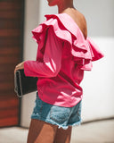 Be Bold One Shoulder Ruffle Top - Fuchsia - FINAL SALE
