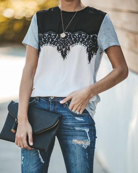 Pleasantries Lace Contrast Tee - FINAL SALE