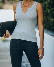 Mckay Ribbed Knit Tank - Heather Grey
