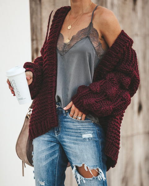 Get Knit Right Cardigan - Wine